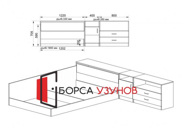 Схема за Спален комплект Сити 7003