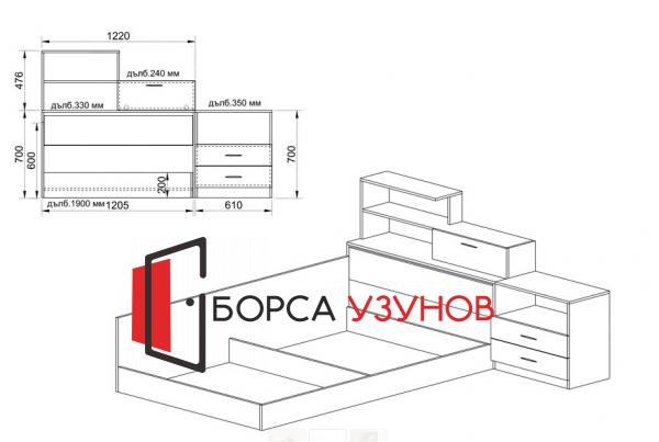 Схема за Спален комплект Сити 7008