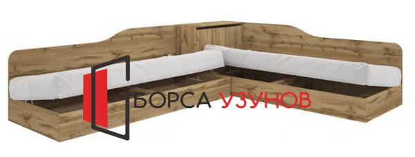 Ъглово легло СИТИ 2001 в цвят дъб дакота