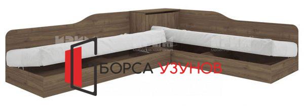 Ъглово легло СИТИ 2001 в цвят орех адмирал