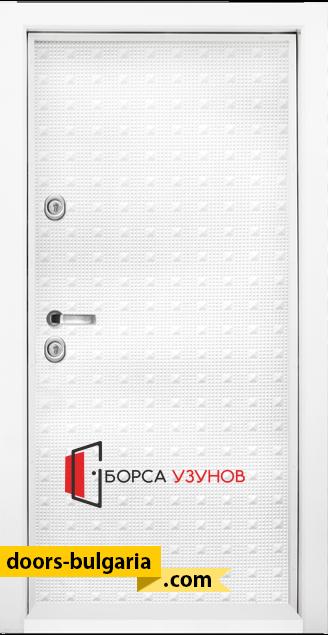 Блиндирана врата T777 бял гланц от Узунов