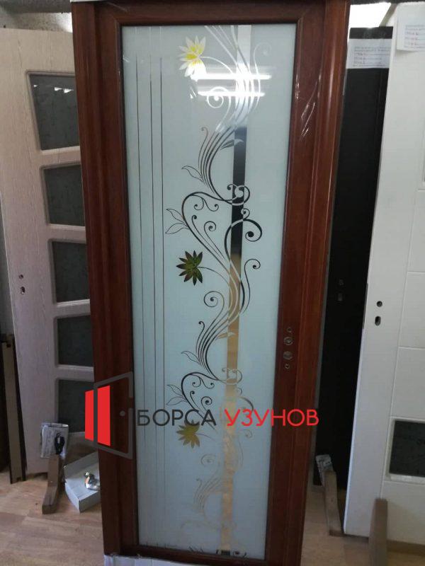 Алуминиеви врати с орнаментно стъкло от Узунов