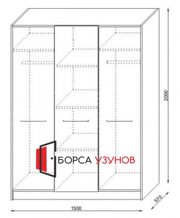 Вътрешно разпределение на гардероб от Спален комплект АТИНА МИНИ