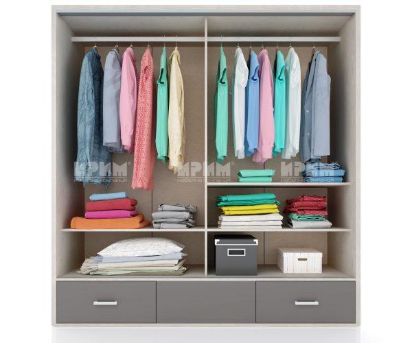 Вътрешно разпределение на гардероб от спален комплект Сити 7005