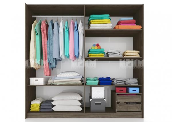 Вътрешно разпределение на гардероб от спален комплект Сити 7014