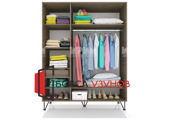 Вътрешно разпределение на гардероб от спален комплект Сити 7015