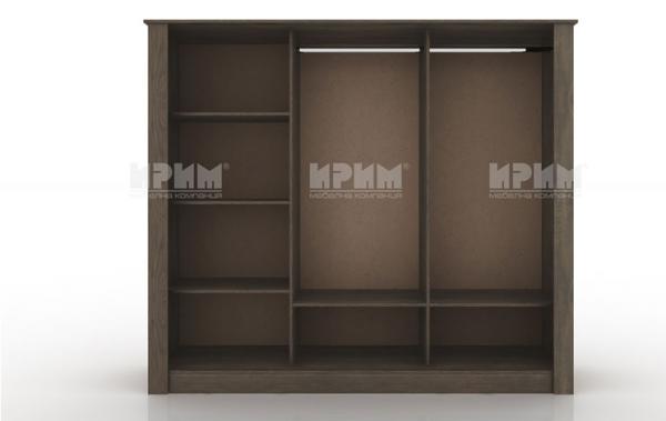 Вътрешно разпределение на гардероб от спален комплект Сити 7028