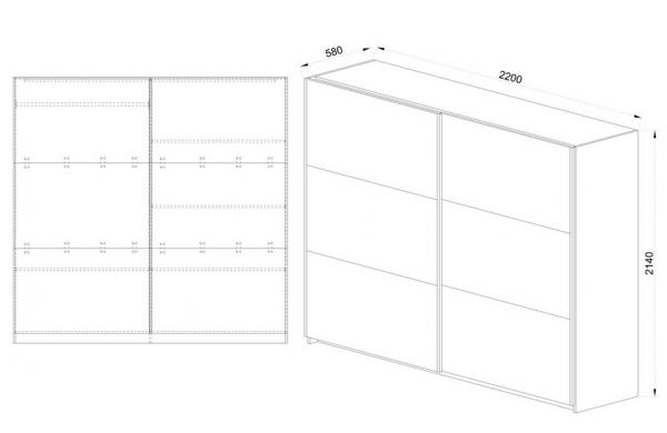 Схема за гардероб от спален комплект Сити 7014