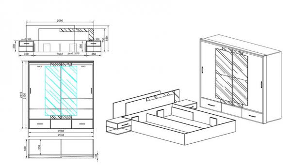Схема за спален комплект Сити 7005
