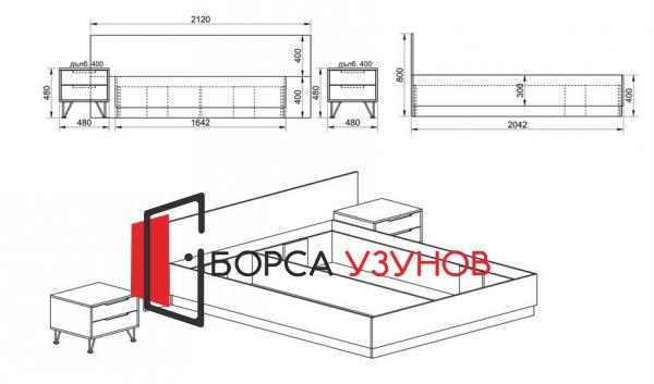 Схема за спален комплект Сити 7015