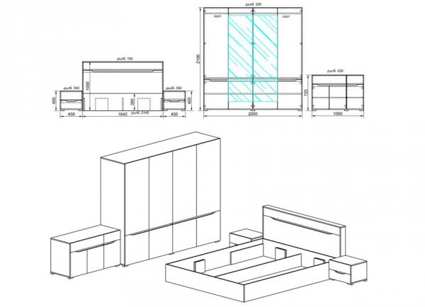схеме за спален комплект Сити 7007 от Узунов