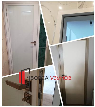 Алуминиева врата с матирано стъкло и обличаща каса